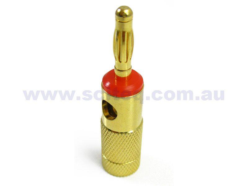 Banana Plug 4mm gold plated Red